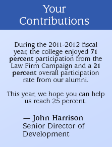 Quote from John Harrison: Thank you for your continued support of alumni and law school projects.